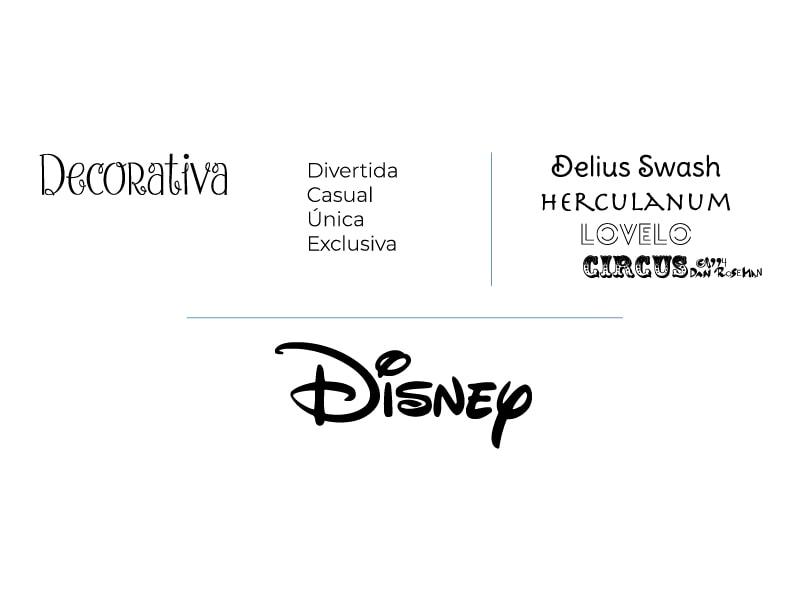 Ejemplos de Tipografía decorativa